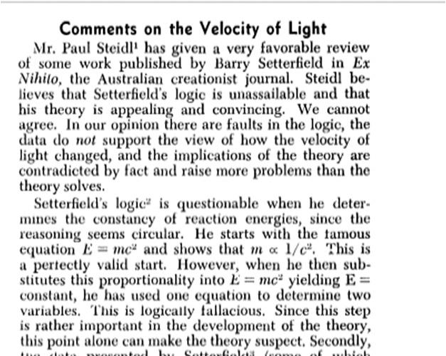 critique of setterfield 1