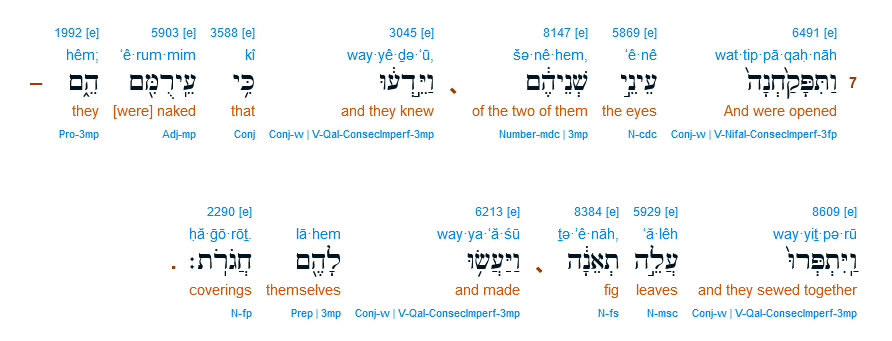 Screenshot 2021-07-14 at 07-38-41 Genesis 3 7 Interlinear and the eyes of them both are opened, and they know that they are...